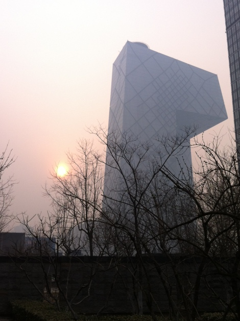 CCTV Building in the morning smog
